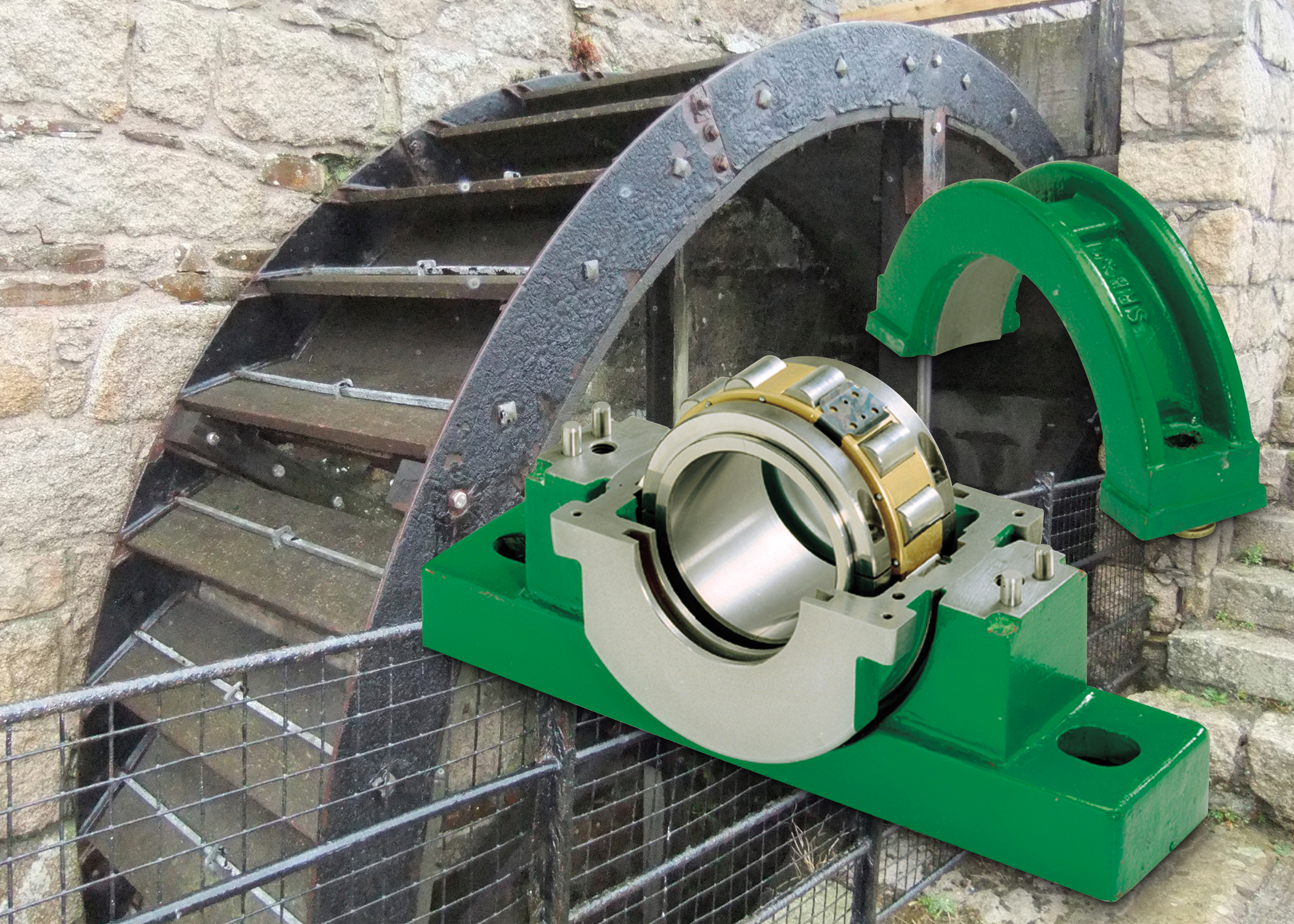 Water wheel bearings improve efficiency and reliability