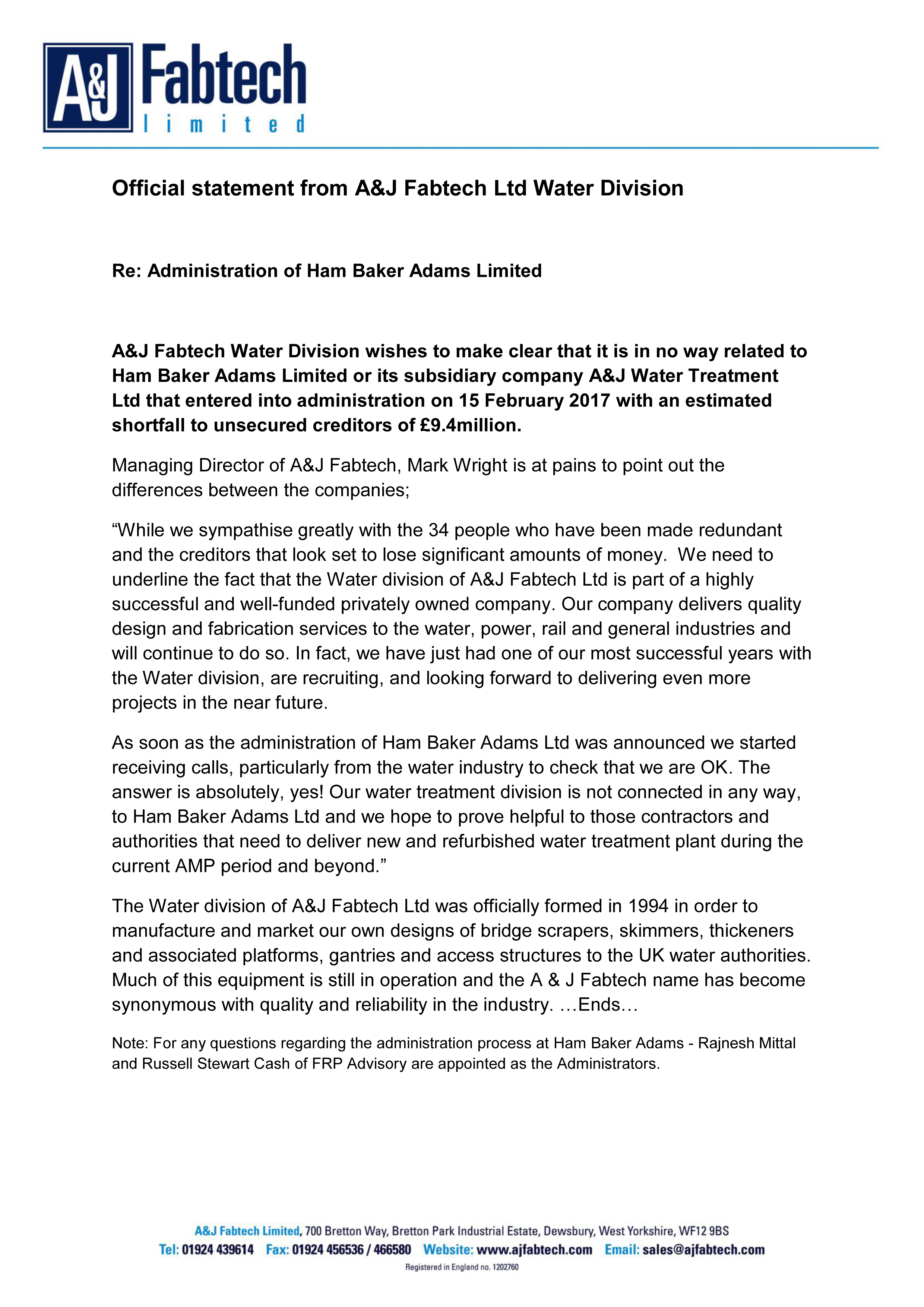 Official statement from A&J Fabtech Ltd Water Division
