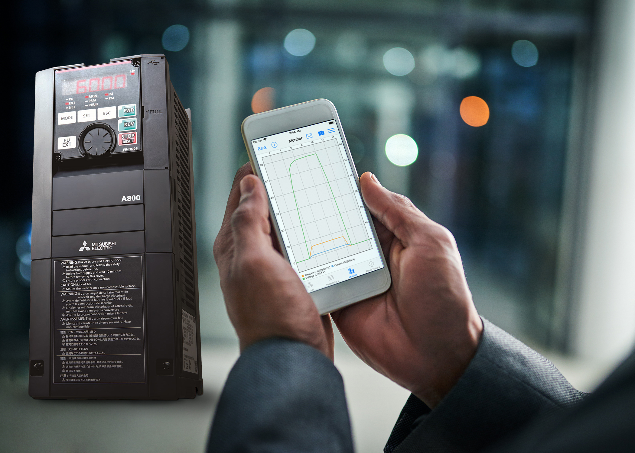 Free App provides convenient monitoring of Mitsubishi Electric inverters